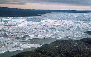 Der Eisfjord - auf dem Flug nach Ilulissat