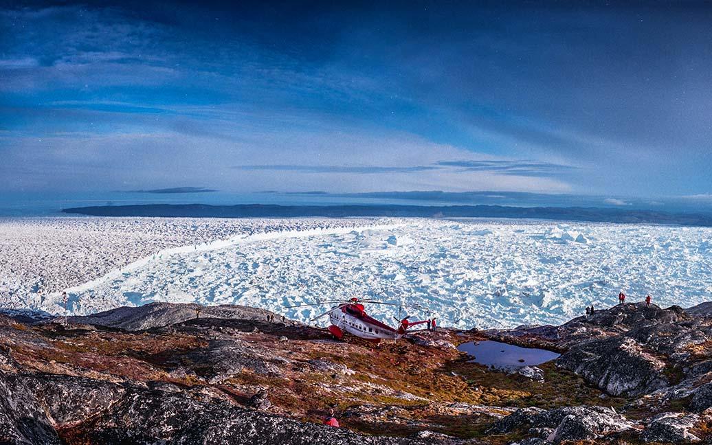 Flug über den Eisfjord zum Inlandeis