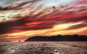 Mitternachtssonne im Uummannaq Fjord